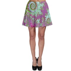 Raspberry Lime Surprise, Abstract Sea Garden  Skater Skirt by DianeClancy