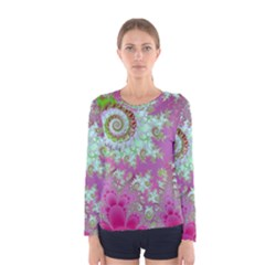Raspberry Lime Surprise, Abstract Sea Garden  Women s Long Sleeve Tee by DianeClancy