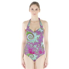 Raspberry Lime Surprise, Abstract Sea Garden  Women s Halter One Piece Swimsuit by DianeClancy