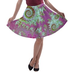 Raspberry Lime Surprise, Abstract Sea Garden  A Line Skater Skirt by DianeClancy