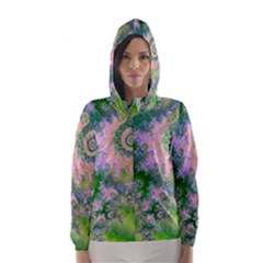 Rose Apple Green Dreams, Abstract Water Garden Hooded Wind Breaker (women) by DianeClancy