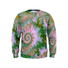 Rose Forest Green, Abstract Swirl Dance Kids  Sweatshirt by DianeClancy