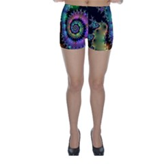 Satin Rainbow, Spiral Curves Through The Cosmos Skinny Shorts by DianeClancy