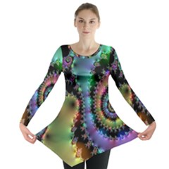 Satin Rainbow, Spiral Curves Through The Cosmos Long Sleeve Tunic  by DianeClancy
