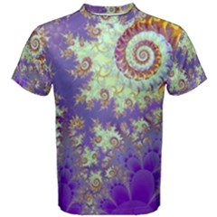 Sea Shell Spiral, Abstract Violet Cyan Stars Men s Cotton Tee by DianeClancy