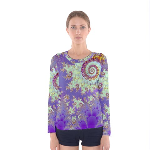 Sea Shell Spiral, Abstract Violet Cyan Stars Women s Long Sleeve Tee by DianeClancy