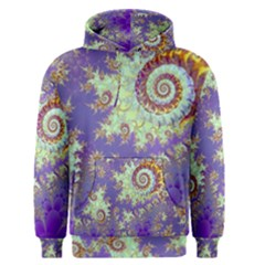 Sea Shell Spiral, Abstract Violet Cyan Stars Men s Pullover Hoodie by DianeClancy
