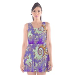 Sea Shell Spiral, Abstract Violet Cyan Stars Scoop Neck Skater Dress by DianeClancy