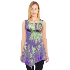 Sea Shell Spiral, Abstract Violet Cyan Stars Sleeveless Tunic by DianeClancy