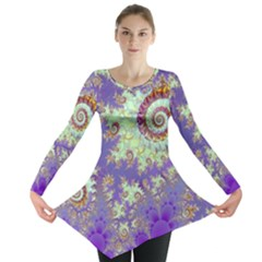 Sea Shell Spiral, Abstract Violet Cyan Stars Long Sleeve Tunic  by DianeClancy