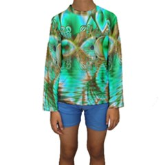 Spring Leaves, Abstract Crystal Flower Garden Kid s Long Sleeve Swimwear by DianeClancy