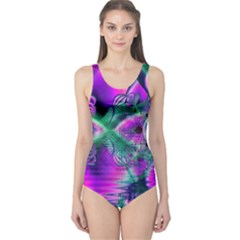 Teal Violet Crystal Palace, Abstract Cosmic Heart One Piece Swimsuit by DianeClancy
