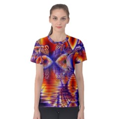 Winter Crystal Palace, Abstract Cosmic Dream (lake 12 15 13) 9900x7400 Smaller Women s Cotton Tee by DianeClancy