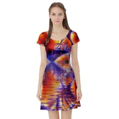 Winter Crystal Palace, Abstract Cosmic Dream (lake 12 15 13) 9900x7400 Smaller Short Sleeve Skater Dress by DianeClancy