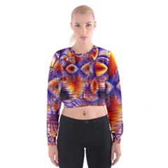 Winter Crystal Palace, Abstract Cosmic Dream (lake 12 15 13) 9900x7400 Smaller Women s Cropped Sweatshirt by DianeClancy