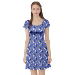 Moon Kitties Short Sleeve Skater Dress