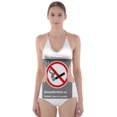No Smoking  Cut Out One Piece Swimsuit
