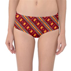 Distorted Stripes And Rectangles Pattern      Mid-waist Bikini Bottoms by LalyLauraFLM