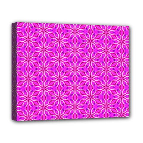 Pink Snowflakes Spinning In Winter Deluxe Canvas 20  X 16   by DianeClancy