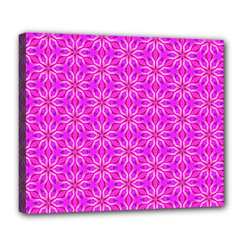 Pink Snowflakes Spinning In Winter Deluxe Canvas 24  X 20   by DianeClancy