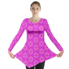 Pink Snowflakes Spinning In Winter Long Sleeve Tunic  by DianeClancy