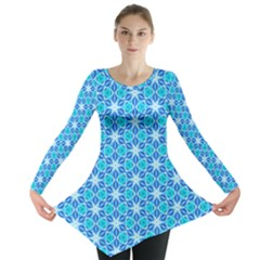 Aqua Hawaiian Stars Under A Night Sky Dance Long Sleeve Tunic  by DianeClancy