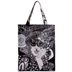Vintage Smoking Woman Large Classic Tote Bag by DryInk