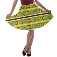 Circles And Stripes Pattern       A-line Skater Skirt by LalyLauraFLM