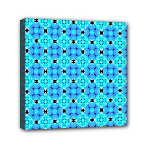 Vibrant Modern Abstract Lattice Aqua Blue Quilt Mini Canvas 6  X 6  by DianeClancy