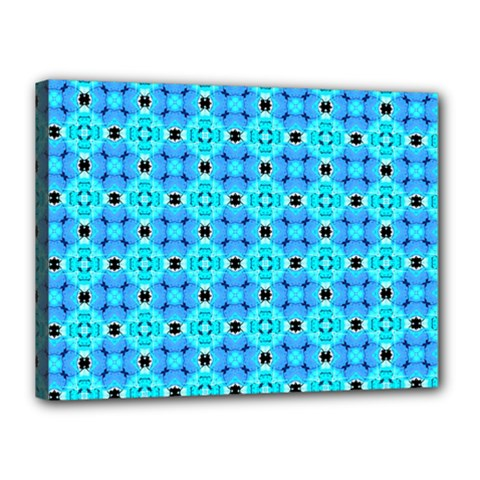 Vibrant Modern Abstract Lattice Aqua Blue Quilt Canvas 16  X 12  by DianeClancy