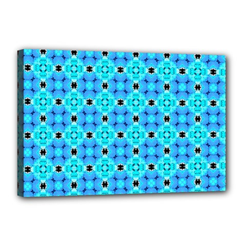 Vibrant Modern Abstract Lattice Aqua Blue Quilt Canvas 18  X 12  by DianeClancy