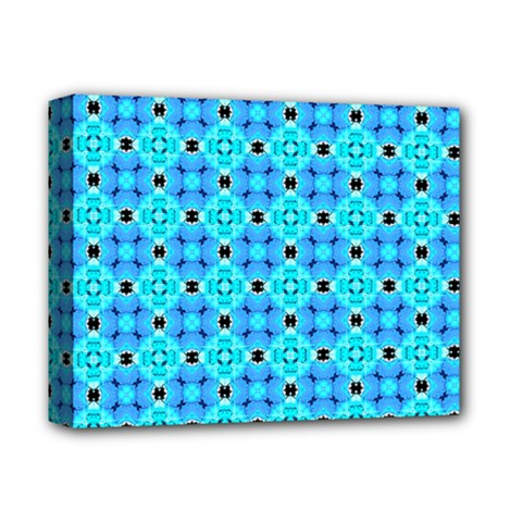Vibrant Modern Abstract Lattice Aqua Blue Quilt Deluxe Canvas 14  X 11  by DianeClancy