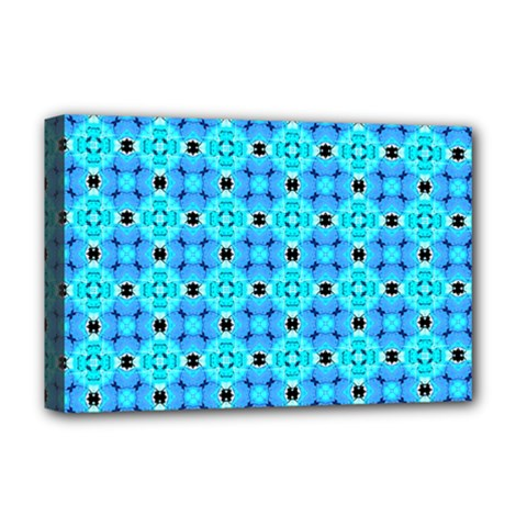 Vibrant Modern Abstract Lattice Aqua Blue Quilt Deluxe Canvas 18  X 12   by DianeClancy