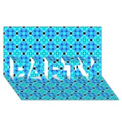 Vibrant Modern Abstract Lattice Aqua Blue Quilt Party 3d Greeting Card (8x4)  by DianeClancy