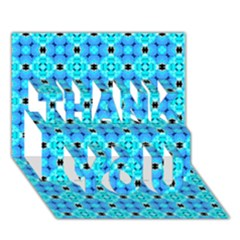 Vibrant Modern Abstract Lattice Aqua Blue Quilt Thank You 3d Greeting Card (7x5)  by DianeClancy