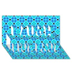 Vibrant Modern Abstract Lattice Aqua Blue Quilt Laugh Live Love 3d Greeting Card (8x4)  by DianeClancy