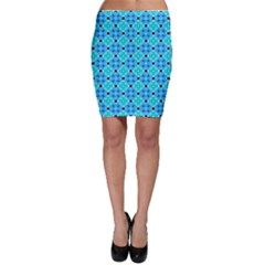 Vibrant Modern Abstract Lattice Aqua Blue Quilt Bodycon Skirts by DianeClancy