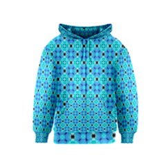 Vibrant Modern Abstract Lattice Aqua Blue Quilt Kids  Zipper Hoodie by DianeClancy