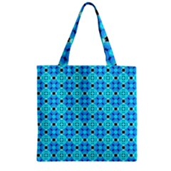 Vibrant Modern Abstract Lattice Aqua Blue Quilt Zipper Grocery Tote Bag by DianeClancy