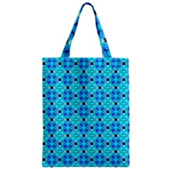 Vibrant Modern Abstract Lattice Aqua Blue Quilt Zipper Classic Tote Bag by DianeClancy