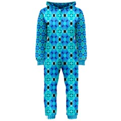 Vibrant Modern Abstract Lattice Aqua Blue Quilt Hooded Jumpsuit (ladies)  by DianeClancy