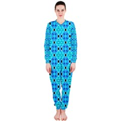 Vibrant Modern Abstract Lattice Aqua Blue Quilt Onepiece Jumpsuit (ladies)  by DianeClancy