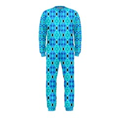 Vibrant Modern Abstract Lattice Aqua Blue Quilt Onepiece Jumpsuit (kids) by DianeClancy