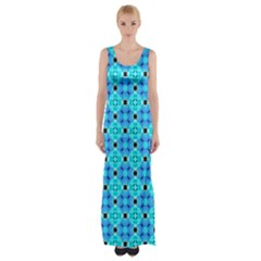 Vibrant Modern Abstract Lattice Aqua Blue Quilt Maxi Thigh Split Dress by DianeClancy