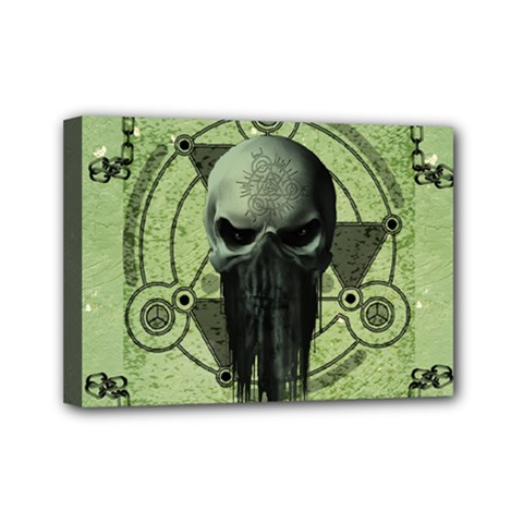 Awesome Green Skull Mini Canvas 7  X 5  by FantasyWorld7
