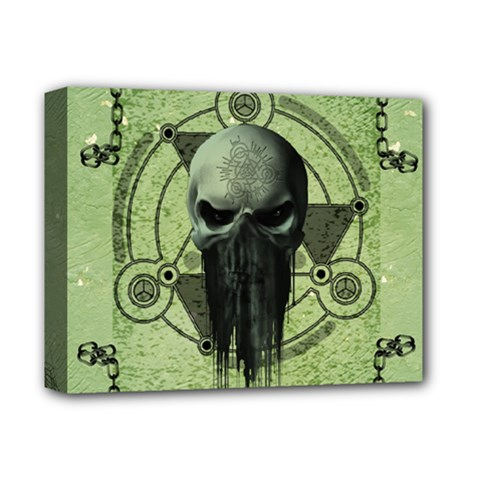 Awesome Green Skull Deluxe Canvas 14  X 11  by FantasyWorld7