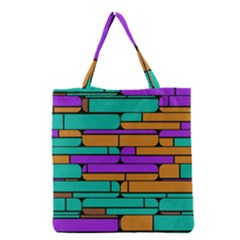 Round Corner Shapes In Retro Colors            Grocery Tote Bag by LalyLauraFLM
