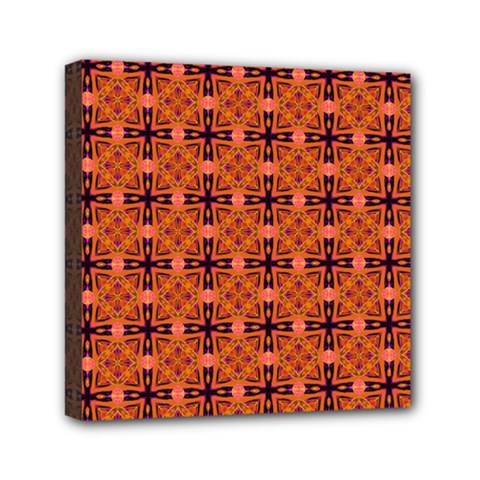 Peach Purple Abstract Moroccan Lattice Quilt Mini Canvas 6  X 6  by DianeClancy