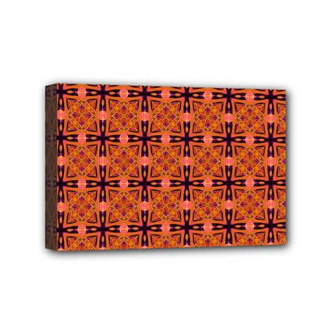 Peach Purple Abstract Moroccan Lattice Quilt Mini Canvas 6  X 4  by DianeClancy