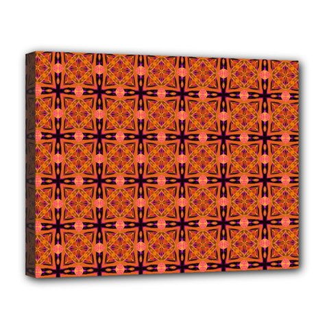 Peach Purple Abstract Moroccan Lattice Quilt Canvas 14  X 11  by DianeClancy
